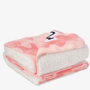 Pink Victoria's Secret Camouflage Sherpa Blanket